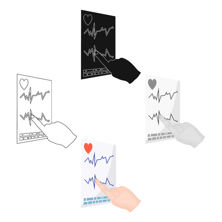 Studying the cardiogram of the heart. Medicine single icon in cartoon,black style vector symbol stock illustration web.