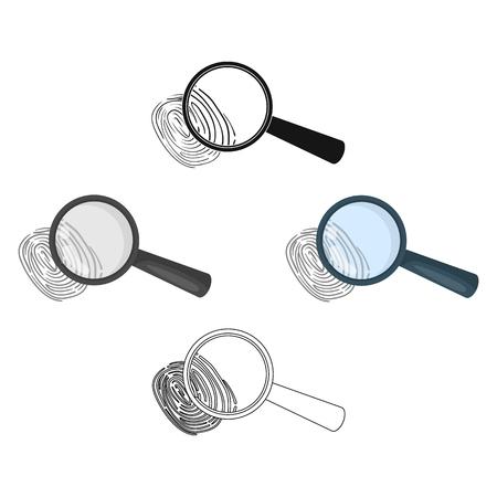 Magnifier and fingerprint. Detection of criminals by fingerprint.Prison single icon in cartoon,black style vector symbol stock illustration.