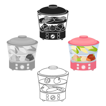 Food steamer icon in cartoon,black style isolated on white background. Household appliance symbol stock vector illustration. Standard-Bild - 123692372