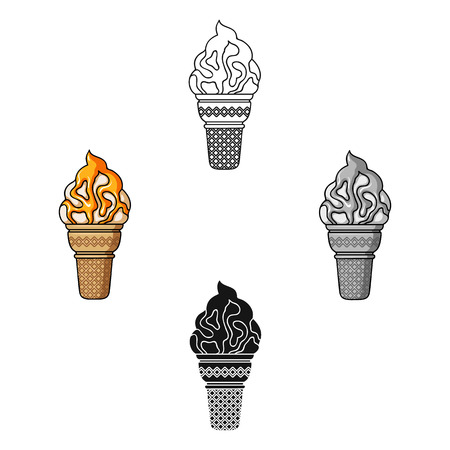 Ice cream in waffle cup icon in cartoon,black style isolated on white background. Ice cream symbol stock vector illustration.