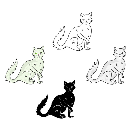 British Semi-longhair icon in cartoon,black style isolated on white background. Cat breeds symbol stock vector illustration. Иллюстрация