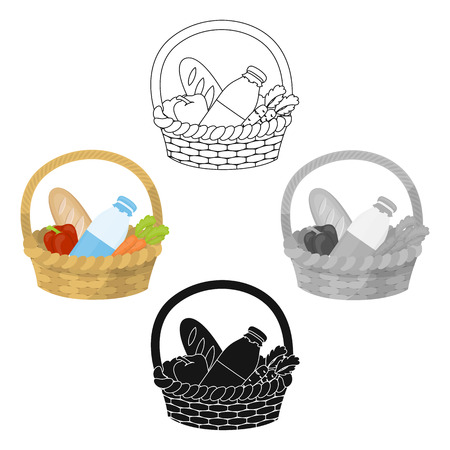 Basket with products icon in cartoon,black style isolated on white background. Charity and donation symbol stock vector illustration.