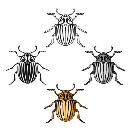 Colorado beetle icon in cartoon,black style isolated on white background. Insects symbol stock vector illustration.