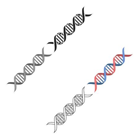 DNA code icon cartoon,black. Single medicine icon from the big medical, healthcare cartoon,black. Illustration