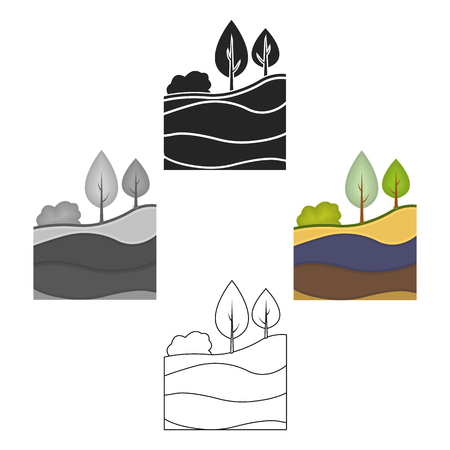 Layers of the earth icon in cartoon,black style isolated on white background. Mine symbol stock vector illustration.