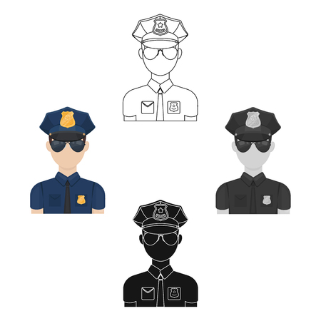 Police officer icon in cartoon,black style isolated on white background. Police symbol stock vector illustration.