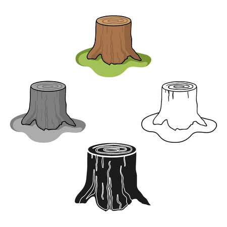 Tree stump icon in cartoon,black style isolated on white background. Sawmill and timber symbol stock vector illustration.