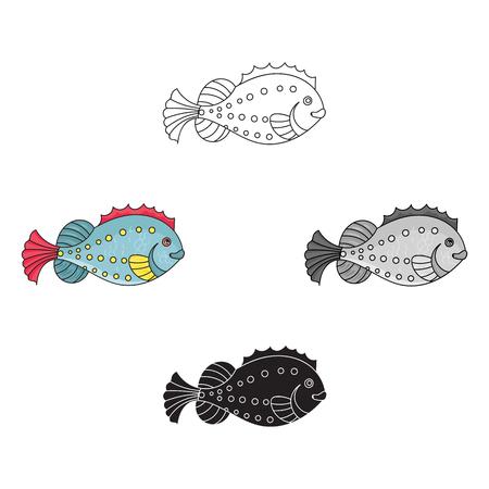 Sea fish icon in cartoon,black style isolated on white background. Sea animals symbol stock vector illustration.