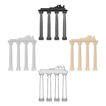 Turkish ruins icon in cartoon,black style isolated on white background. Turkey symbol stock vector illustration. Illustration