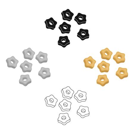 Stelline icona di pasta in cartoon,stile nero isolato su sfondo bianco. Tipi di illustrazione vettoriali stock simbolo di pasta.