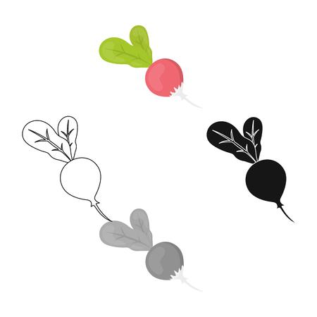 Radish icon cartoon,black. Singe vegetables icon from the eco food cartoon,black.