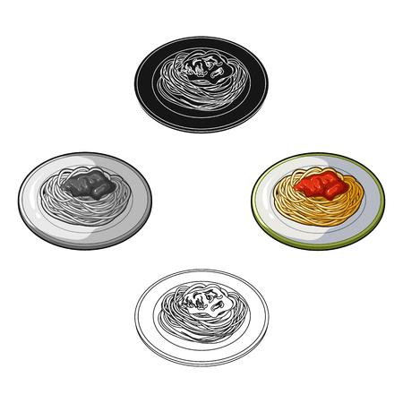 The dish in which wheat spaghetti with red sauce.Main dish vegetarian.Vegetarian Dishes single icon in cartoon,black style vector symbol stock illustration. Ilustração