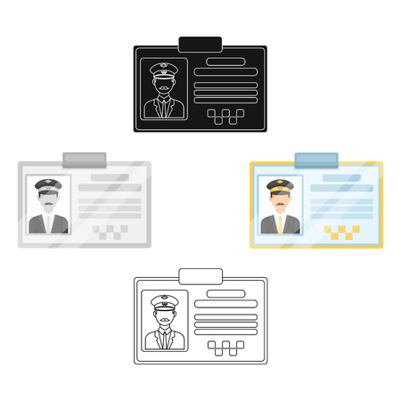 Driver document taxi.Plastik card taxi driver with photo Taxi station single icon in cartoon,black style vector symbol stock illustration.
