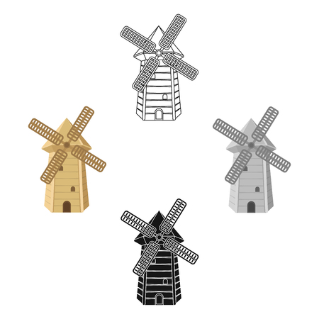 Spanish mill icon in cartoon,black style isolated on white background. Spain country symbol stock vector illustration.