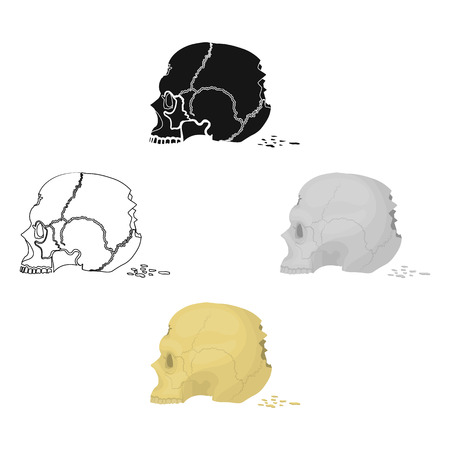 Skull single icon in cartoon,black style.Skull, vector symbol stock illustration web.