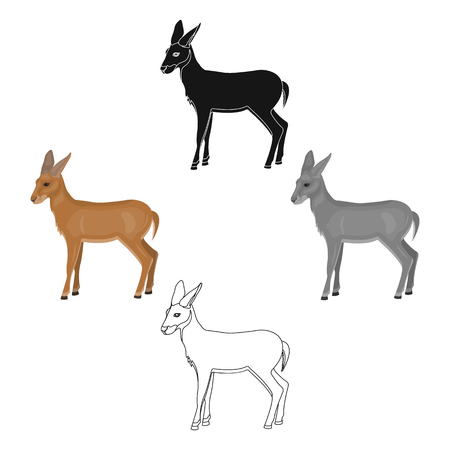 A young, wild antelope. A wild-footed animal of an antelope single icon in cartoon,black style vector symbol stock illustration web.