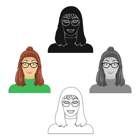 The girl s face is wearing glasses. Face and appearance single icon in cartoon,black style vector symbol stock illustration web.