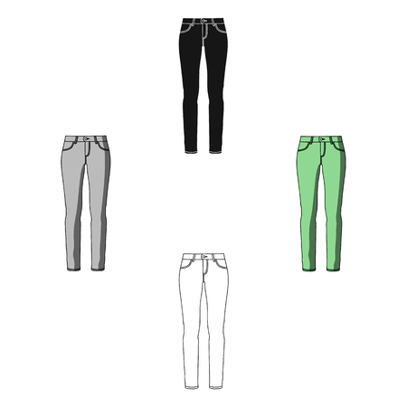 Green skinny pants for women. Women s clothes for a walk.Women clothing single icon in cartoon,black style vector symbol stock illustration.