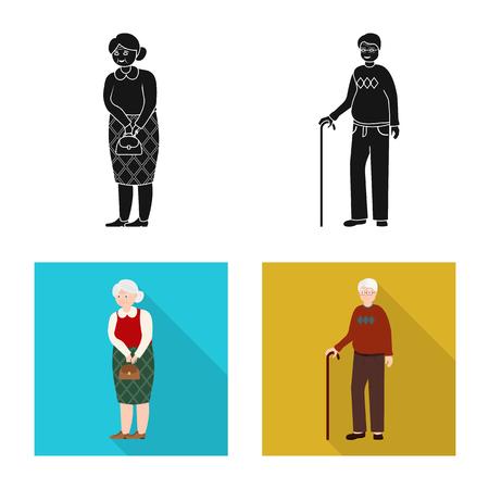 Illustrazione vettoriale del segno di carattere e avatar. Set di icone vettoriali di carattere e ritratto per stock. Vettoriali