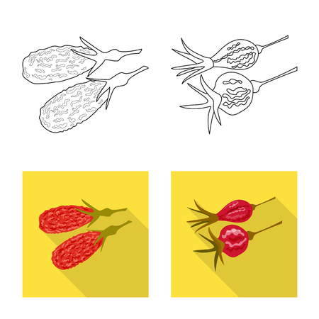 Vector illustration of food  and raw  icon. Set of food  and nature   stock vector illustration. Stock Vector - 123325580