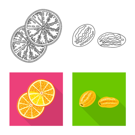 Vector design of food  and raw  logo. Set of food  and nature   stock symbol for web.