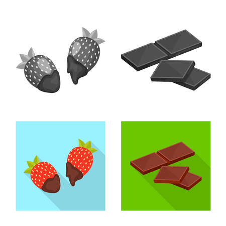 Vector design of food and yummy icon. Set of food and brown   stock symbol for web. Ilustração