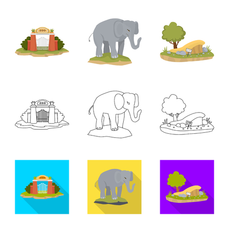 Vector design of nature  and fun  symbol. Collection of nature  and entertainment stock symbol for web.