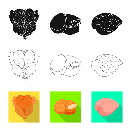 Vector design of product and poultry sign. Set of product and agriculture    vector icon for stock.