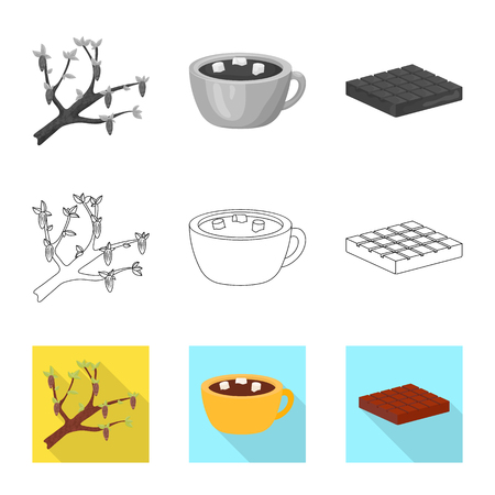 Isolated object of food and yummy logo. Set of food and brown stock symbol for web.