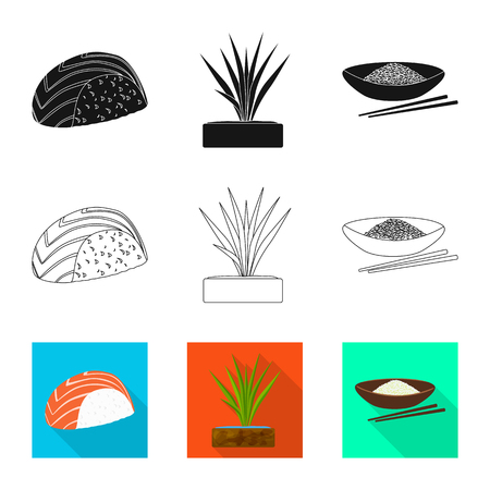 Isolated object of crop and ecological symbol. Set of crop and cooking stock vector illustration. Иллюстрация