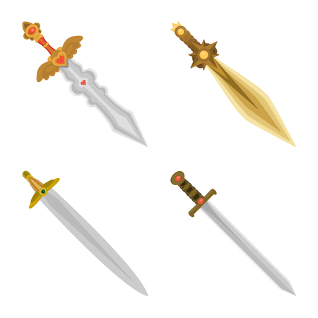 Vector illustration of sword and dagger. Set of sword and weapon vector icon for stock.