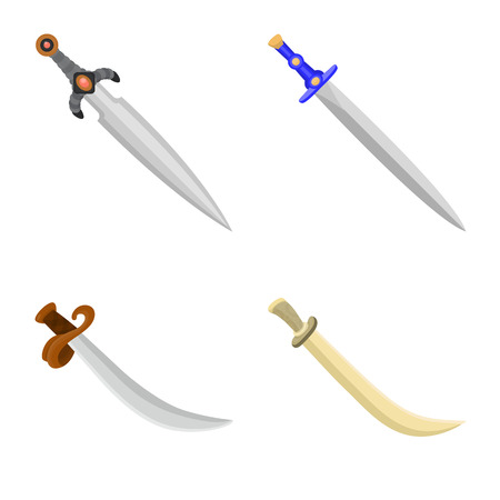Vector design of sword  and dagger  icon. Collection of sword  and weapon stock vector illustration.