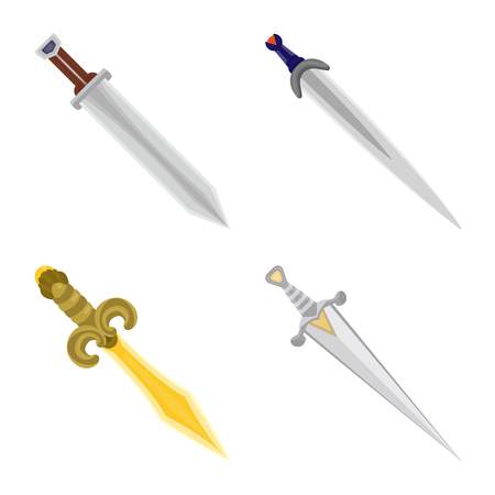 Vector design of sword  and dagger  sign. Set of sword  and weapon stock symbol for web.