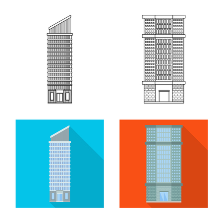 Vector design of municipal and center. Set of municipal and estate   vector icon for stock.