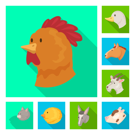Vector design of agriculture and breeding. Set of agriculture and organic  stock symbol for web. Illustration