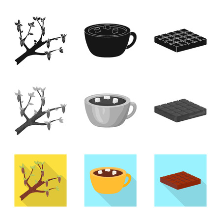 Isolated object of food and yummy logo. Set of food and brown   vector icon for stock. Standard-Bild - 123447661