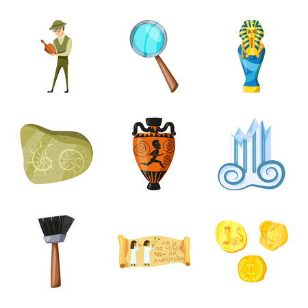 Isolated object of archaeology and historical sign. Set of archaeology and excavation vector icon for stock.