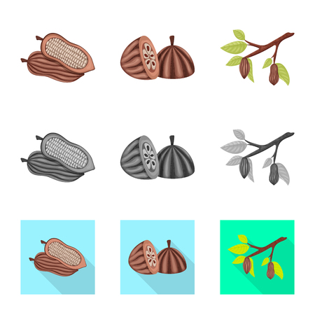 Vector illustration of food and yummy logo. Collection of food and brown   stock vector illustration. Foto de archivo - 123447838