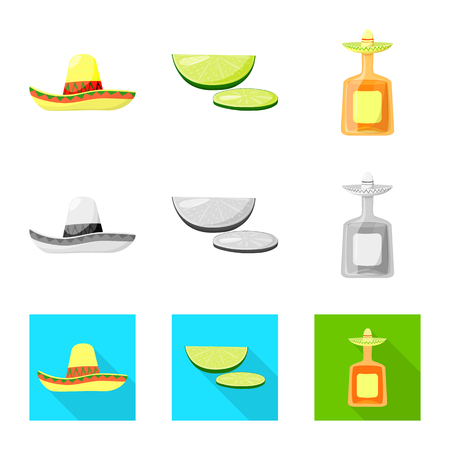 Isolated object of cafe and Latin symbol. Set of cafe and national vector icon for stock. 矢量图像