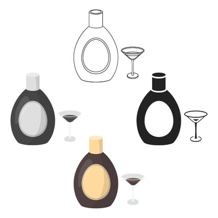 Chocolate liqueur icon in cartoon,black style isolated on white background. Alcohol symbol stock vector illustration.