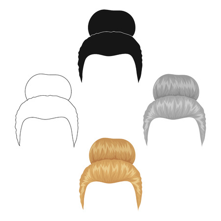 Blond hair with a shingle.Back hairstyle single icon in cartoon,black style vector symbol stock illustration web. Иллюстрация