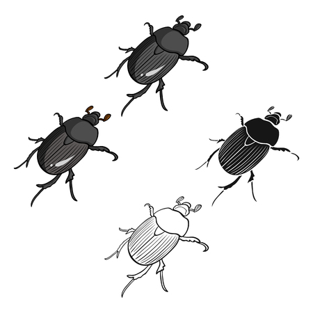 Beetle is a coleopterous insect.Arthropods insect, beetle single icon in cartoon,black style vector symbol stock isometric illustration web. Çizim