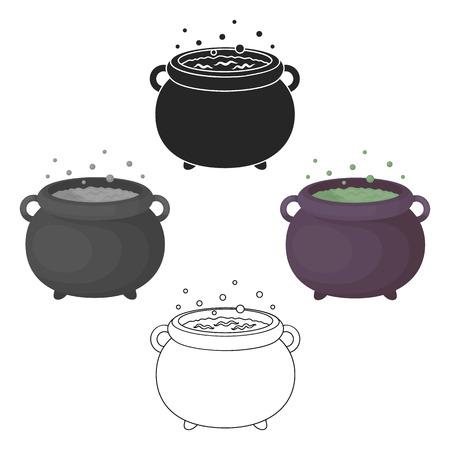 Witch s cauldron icon in cartoon,black style isolated on white background. Black and white magic symbol stock vector illustration. Illustration
