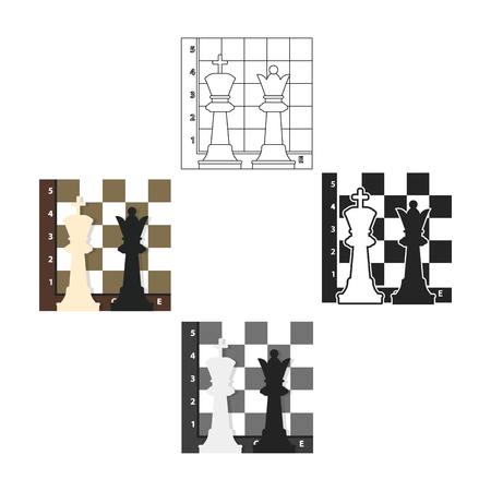 Icona di scacchi in stile cartoon,nero isolato su priorità bassa bianca. Illustrazione di stock di simbolo di giochi da tavolo.
