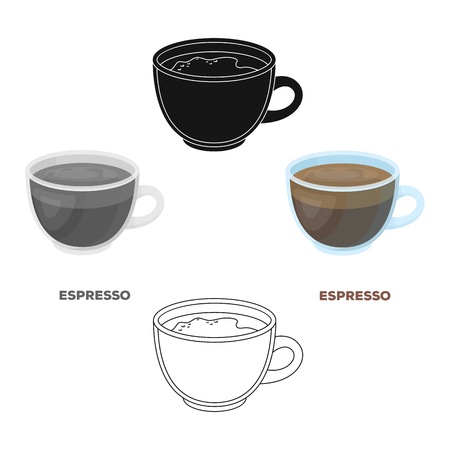 Espresso coffee.Different types of coffee single icon in cartoon,black style vector symbol stock illustration web. Ilustracje wektorowe