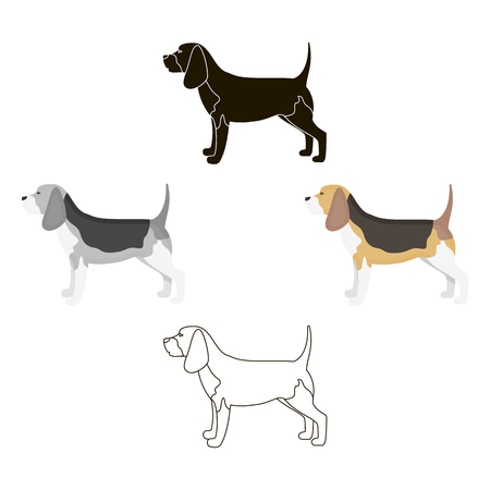 Beagle vector icon in cartoon,black style for web