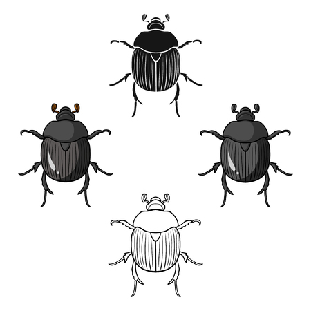 Dor-beetle icon in cartoon,black style isolated on white background. Insects symbol stock vector illustration.