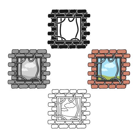 Prison escape icon in cartoon,black style isolated on white background. Crime symbol stock vector illustration.