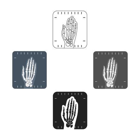 X-ray hand icon cartoon,black. Single medicine icon from the big medical, healthcare cartoon,black.
