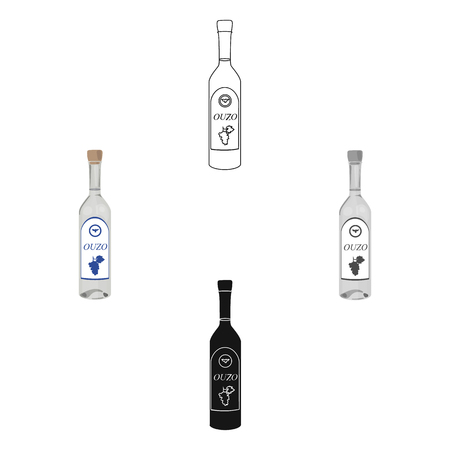 Bottle of ouzo icon in cartoon,black style isolated on white background. Greece symbol stock vector illustration.